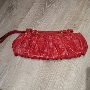 "Red leather clutch 6"" by 15"" by Sabina"